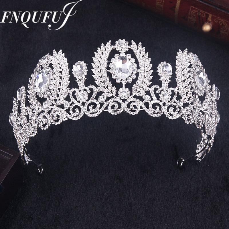 Crystal wedding crown queen headband rhinestone big flower bridal tiara bride bridal hair accessories head diadem hair jewelry