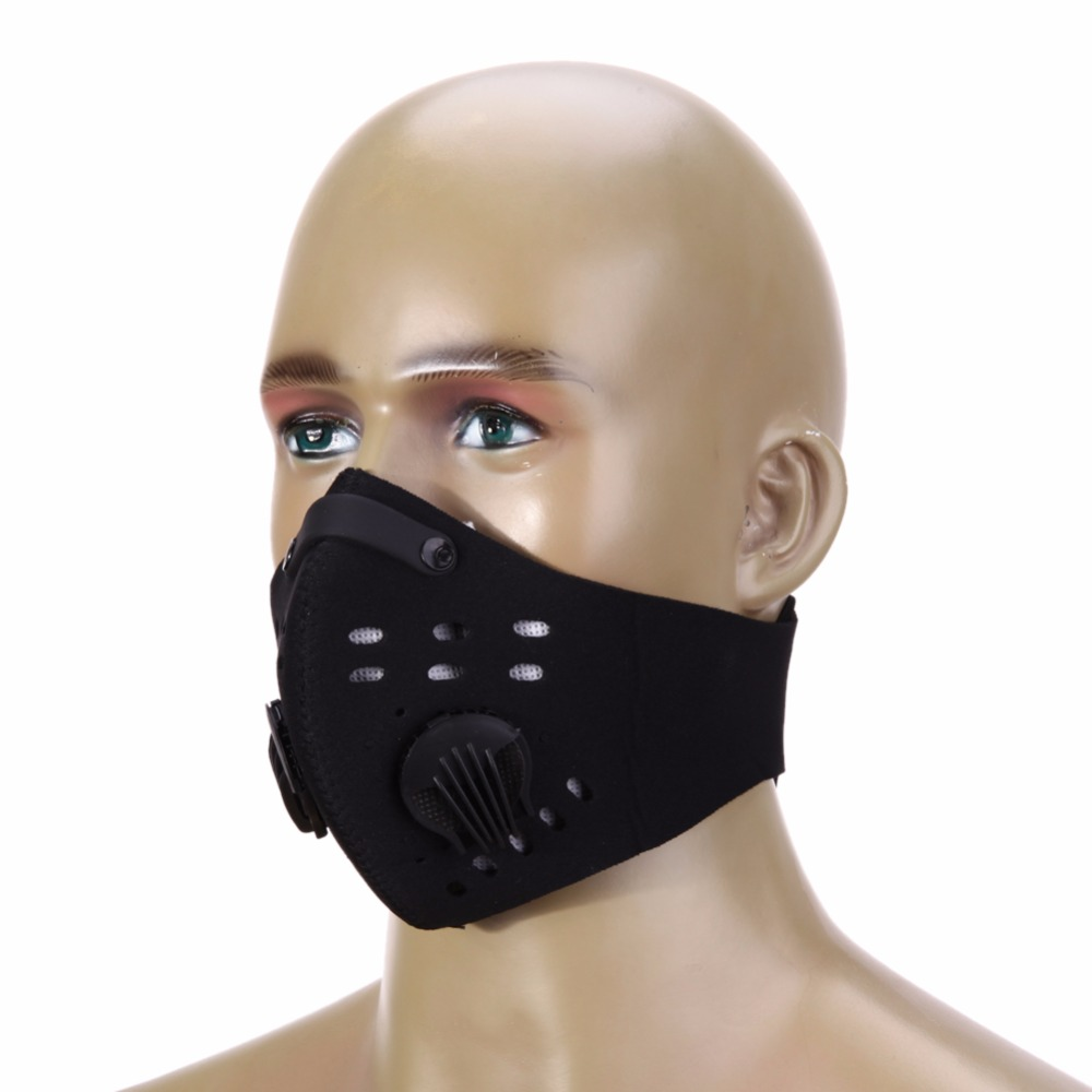 PM2.5 Filter Two Exhale Valves Ski Cycling Half Face Mask Cover Windproof Anti-Pollution Sports Mask Dustproof Running MTB Bike  1