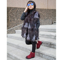 Children  Real Fox Fur Vest Kids Girls Autumn Winter Thick Warm Long Fox Fur Clothes Vest Kids Solid V-Neck Vests Coat V#12