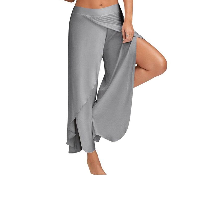 2019 New Fashion Summer Women Chiffon Split Flared Skirt   Pants   Palazzo Boho   Wide     Leg   Loose Trousers Harajuku   Pants