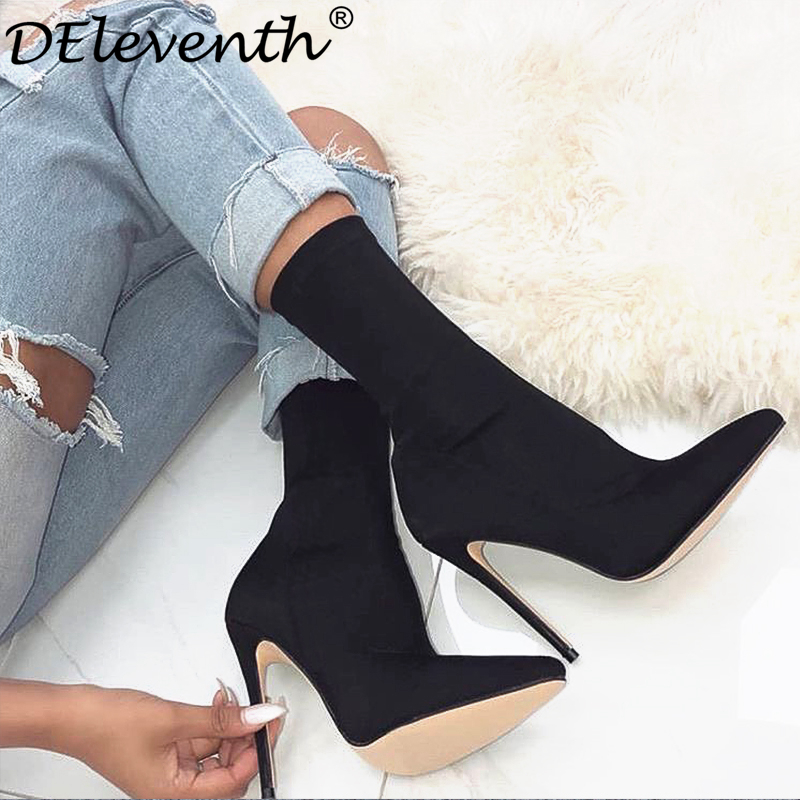 Brand EGO SIMMI Carson Pointed Toe Carda Vienna Staple Pointy Stiletto High Heels Shoes Woman Boots Garda Booties Black Rose 43