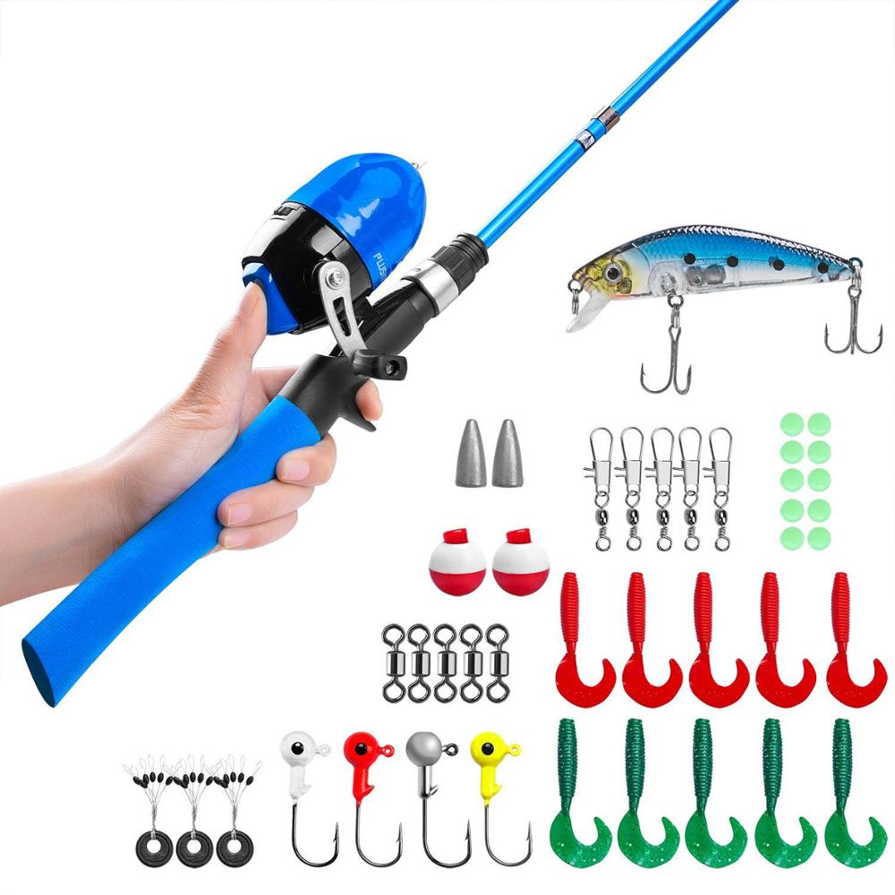 Leo Light Weight Kids Fishing Pole Telescopic Fishing Rod and Reel Combos wit...