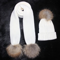 Female knitted 180cm long Scarf and Hat Set  Luxury Winter Warm Crochet Hats and scarves with Real fur pom Beanie Hat for Women
