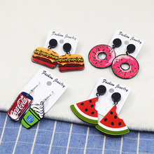LNRRABC Girl Watermelon Fruit Ice Cream Cartoon Fashion Chic Long Cute Temperament  Acrylic Women Ear Drop Earings