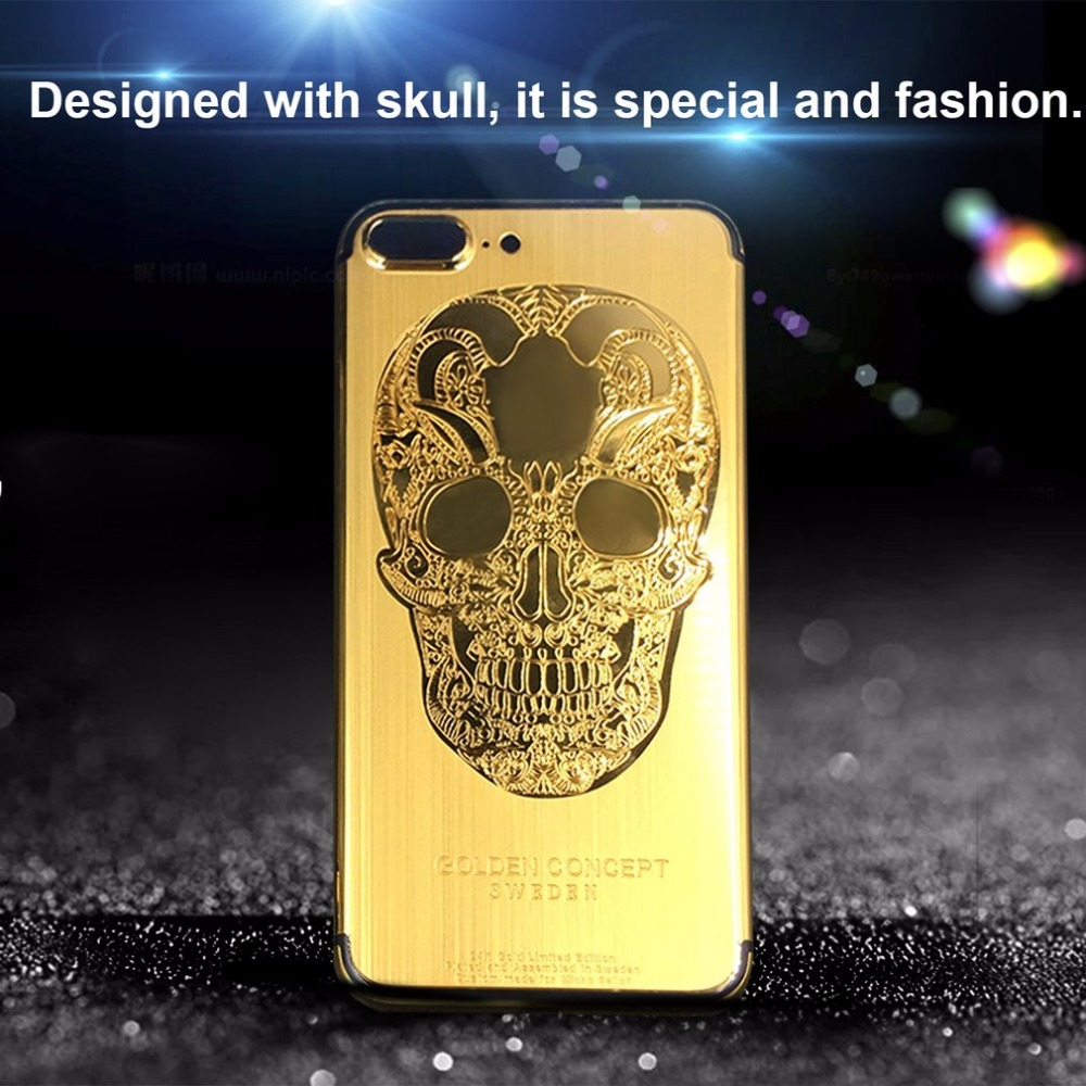 1pc 24K Gold Plated Limited Edition Frame Back Housing Case Skull Back Cover Luxurious Replacement For iPhone 7 7 Plus