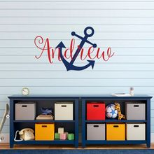 Personalized Name Anchol Wall Decal Removable Vinyl Nautical Sticker Kids Boys Room Decoration AY094