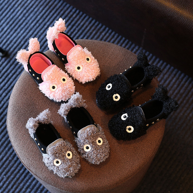 2017 New Warm Flats Soft Sole Indoor Floor Children's Slippers/Shoes Animal Shape Flannel Home Children's Slippers