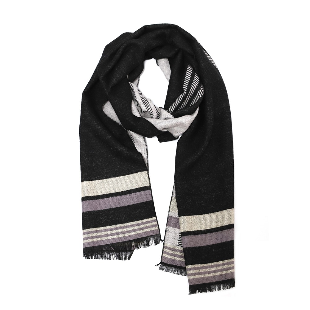 Winter Scarf Scarves Cashmere Wool Woolen Best Gift for Men Male Double Sides Striped Scarves Long Shawl Luxury Fashion Scarf