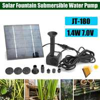 JT 180 1.4W 7V Solar Panel Power Water Fountain Pump Outdoor Garden Pond Pool Submersible Water Pump Kit Garden Decoration
