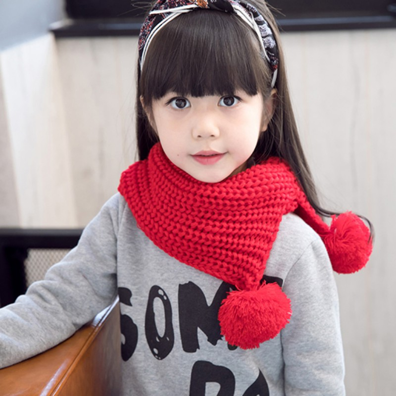 Winter Cotton Baby Scarf Children Girls Boys Warm Kintted Wool O-Scarves Chidren Outing Protect Kint Solid Color Hat
