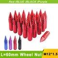 Tuercas de las ruedas del coche 12x1.5 l = 60mm jdm racing blox tuercas m12x1.5 negro Rojo Azul Púrpura Rueda Tuercas M12 * 1.5 Tornillos de Rueda YC100447