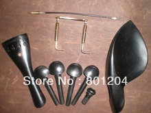 1 Set EBONY Violin Fitting with GOLD chin rest screw and Tail Gut