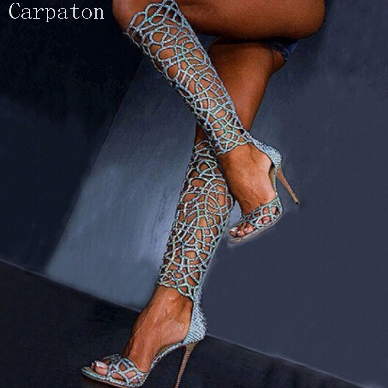 Gorgeous Design Sexy Cut-Outs Open Toe Knee-High Summer Boots Stiletto Heel Hollow Out Gladiator Woman Slim Summer Boots new arrival knee high boots cross strap cut outs gladiator sandal boots suede open toe lace up sandals summer women flat shoes