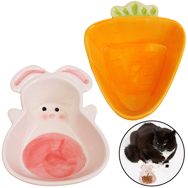 Cat Bowl Cute Carrot Rabbit Shape Ceramic Dog Food Water Feeding Bowls for Small Animals Hamster Chinchilla Rabbit 1