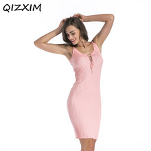Spring Knitwear women dresses Chest vest harness knit wrapped hip dress  Solid color Sexy V- 5374ade474c5