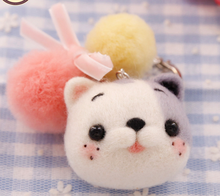 Cat hair ball cartoon animal set wool needlepoint kit wool felt needle felting pendant craft needlecraft DIY handmade(China)