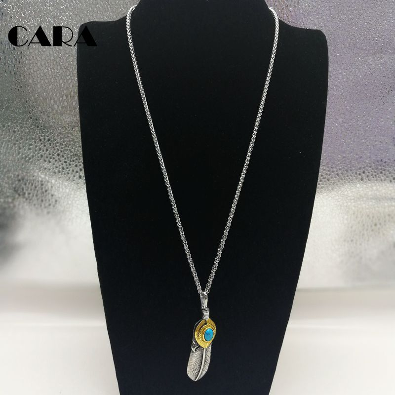 2019 New Feather necklace 2 tone 316L Stainless steel marble stone feather pendant necklace Indian elements necklace CARA0357 in Pendant Necklaces from Jewelry Accessories