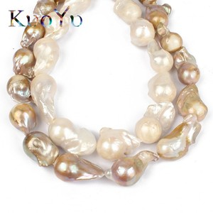 """Image 2 - 14 28MM 100% Natural Big Irregular Baroque Pearl Freshwater Beads High Quality For Bracelet Necklace DIY Jewelry Making 15""""White"""