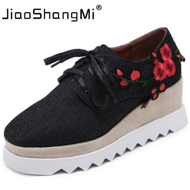 Brand Embroider Flat Platform Shoes Woman Denim Round Toe Lace-Up Platform Oxford Shoes Women Sneakers 2017 New Fashion creepers new brand black white vintage women footwear lace up casual oxford flat shoes woman british style breathable zapatos mujer