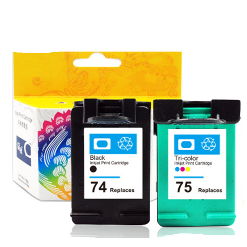 Cartuchos Compatíveis para HP74 75 D4260 D4263 Substituição 74xl Cartucho Para Impressora HP Deskjet 4360 Officejet D4368 J5730 J5750