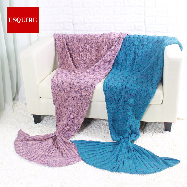 Scales Fish Sirene Tail Blanket Crochet Manta Knitted Mermaid Tail
