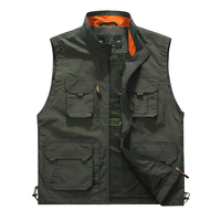 L 6XL Mesh Sleeveless Vest For Men New Classic Solid Multi Pocket Stand Collar Photographer Varsity Jacket Casual Male Waistcoat