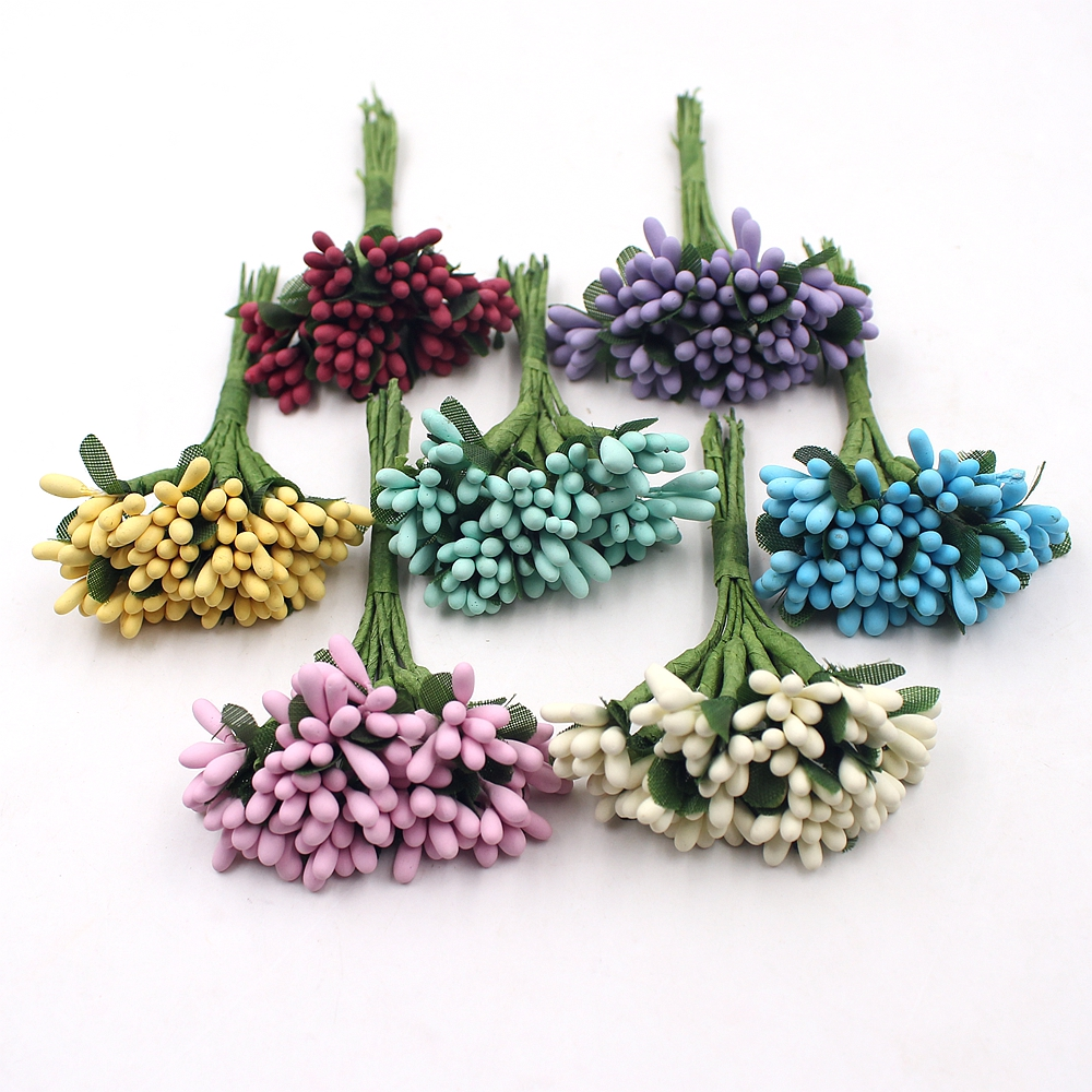 12pcs Artificial Flower Mini Matte stamens Handmade For Wedding Party Home Decoration DIY Christmas Garland Scrapbook Accessorie