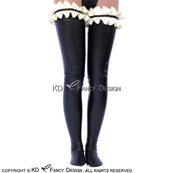 Black With White Sexy Long Latex Stockings With Ruffles On Top Rubber Thigh high stockings WZ