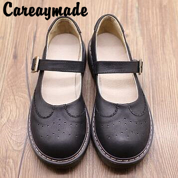 Careaymade Retro T type buckle belt round head single shoes Top layer Genuine leather soft bottom