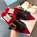 Весна Половиной футов тапочки моды Острым Носом Замши кистями женская обувь сексуальная пряжка Удобные плоские туфли женщин тапочки PU