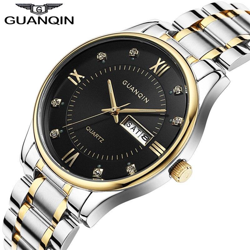 Prix pour 2017 guanqin hommes montres top marque de luxe montre hommes lumineux date semaine bracelet en acier quartz montres relogio masculino