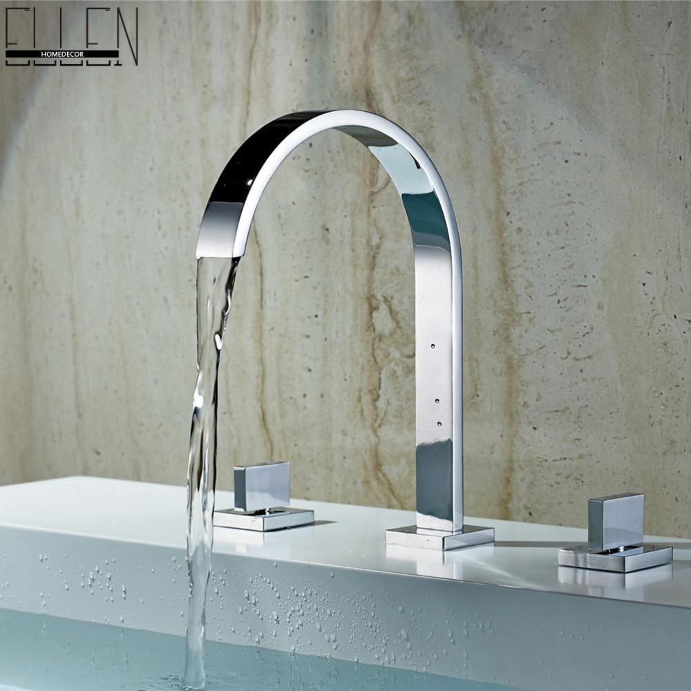 ФОТО Deck Mounted Double Handle Bathroom Taps Square Bathroom Faucets 3 hole