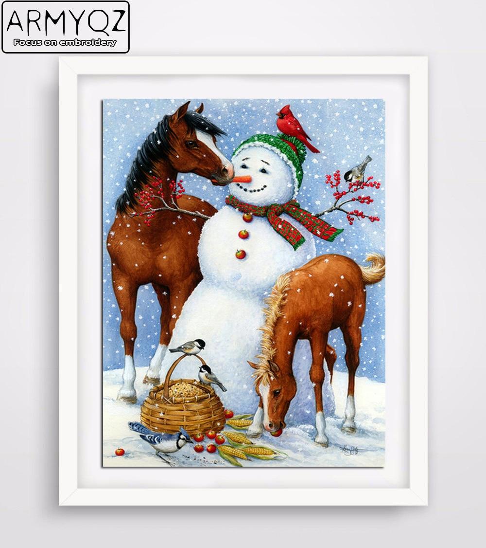 ARMYQZ DIY Diamond Painting Cross Stitch set Round Diamond Embroidery snowman horses Diamond Mosaic Pattern Needlework Crafts