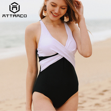 Attraco Women One-piece Patchwork Bandaged V Neck Backless Cross Colorblock Bathing suit Beachwear Monokini Bikini