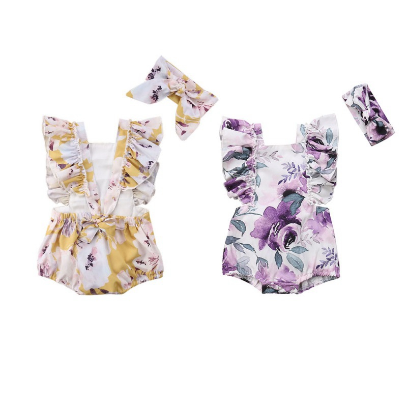 Baby Rompers Summer Print 2PCS Newborn Baby Girls Jumpsuits Butterfly Sleeve Romper + Headband Baby Outfits Clothes