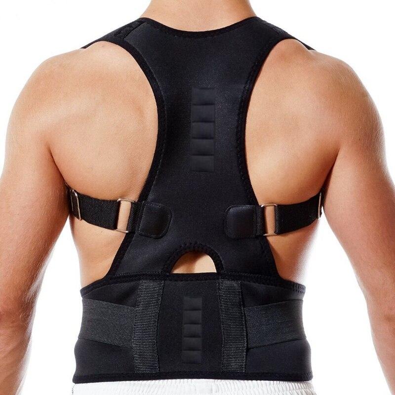 Hombre mujer ajustable postura magnética corsé Back Brace Back ayuda Lumbar de la correa Corrector