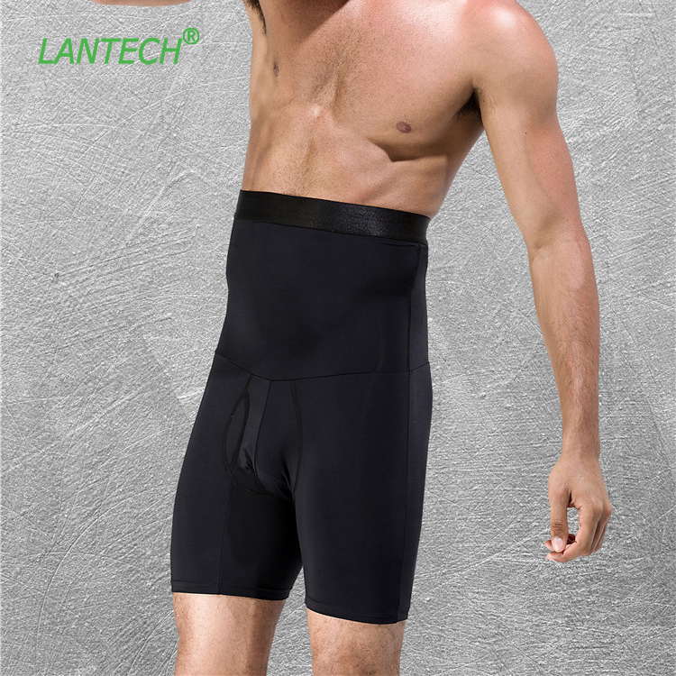 LANTECH Men Shorts Stomach Shapers Bodybuilding Compression Tights Training Underwear Boxers Running Exercise Fitness Gym Shorts