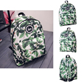 HETI 2015 Hot men and women printing leaves backpacks mochila rucksack fashion canvas bags retro casual school bags travel bags
