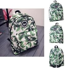 HETI 2015 Chaude hommes et femmes impression feuilles sacs à dos mochila sac à dos de mode toile sacs rétro occasionnels sacs d'école voyage sacs