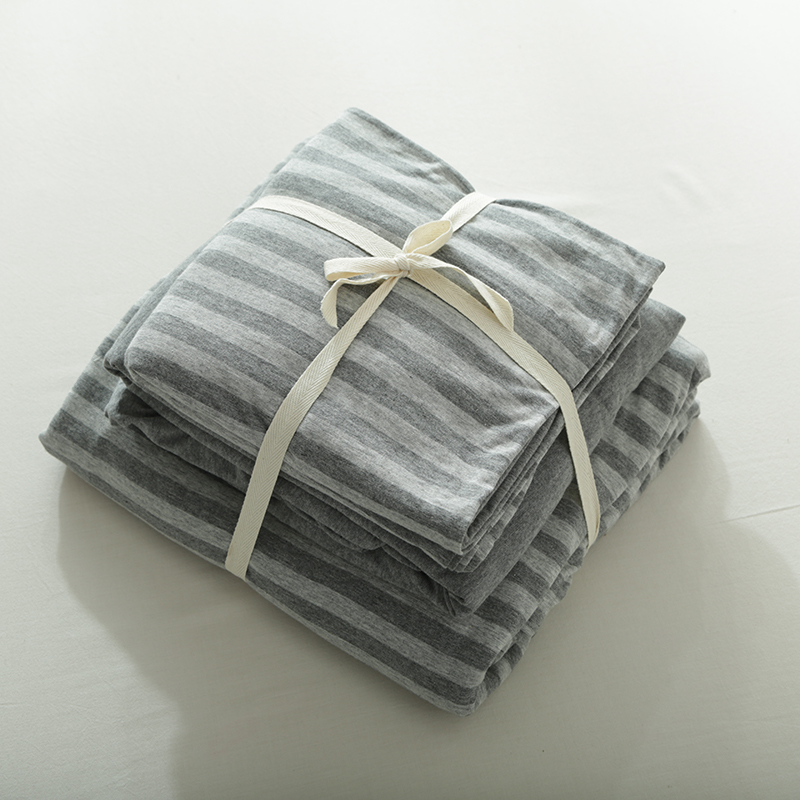 4pcs 100 Cotton Elegant Gray Striped Duvet Cover Set