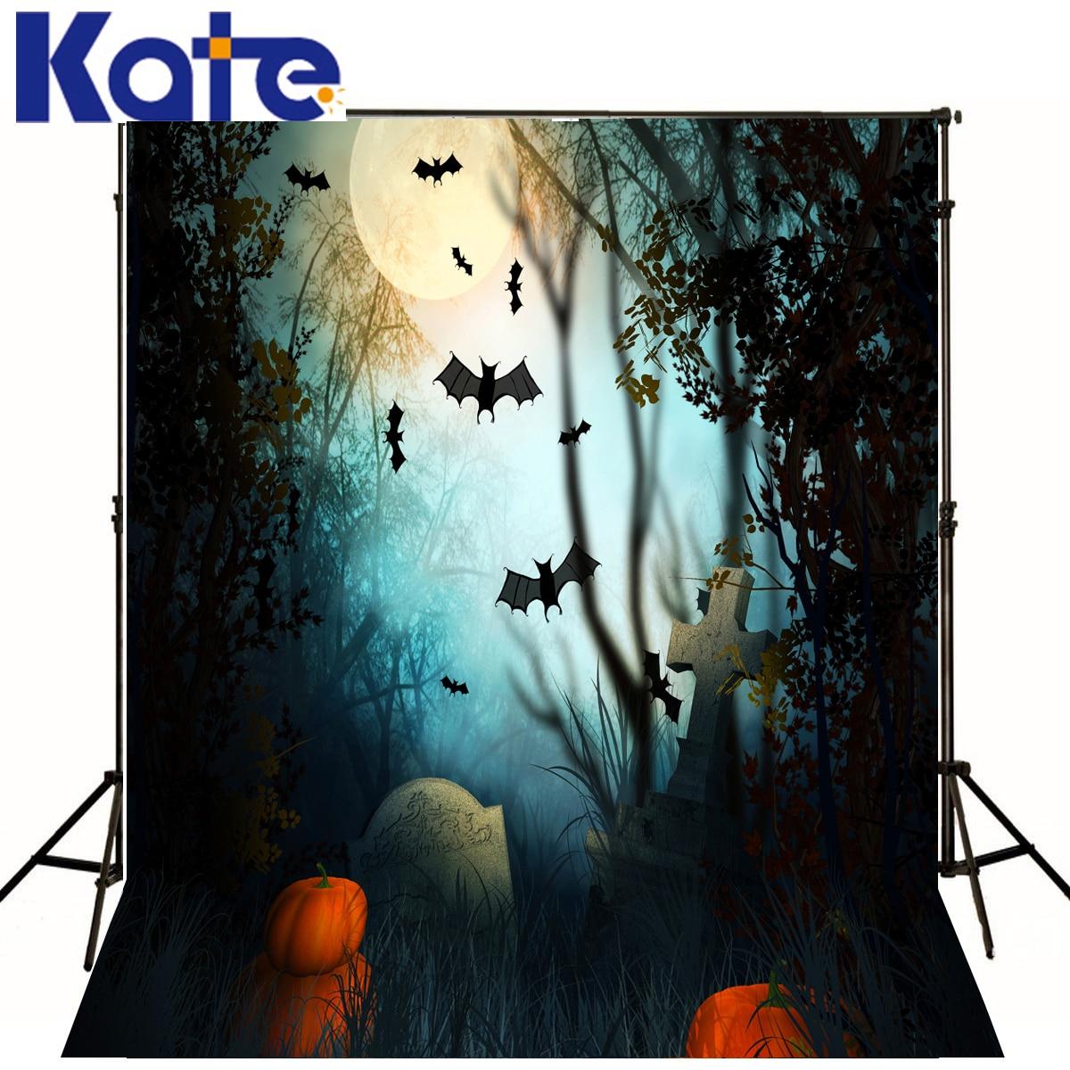 Photo Background Pumpkins Bat Forest Halloween Photo Background Cross Tombstone Background Customize Backdrop