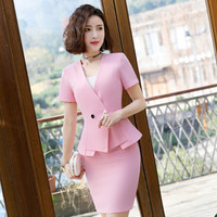 Women's suit skirt short sleeved Slim V neck double breasted suit two piece suit (jacket + skirt) ladies business suit