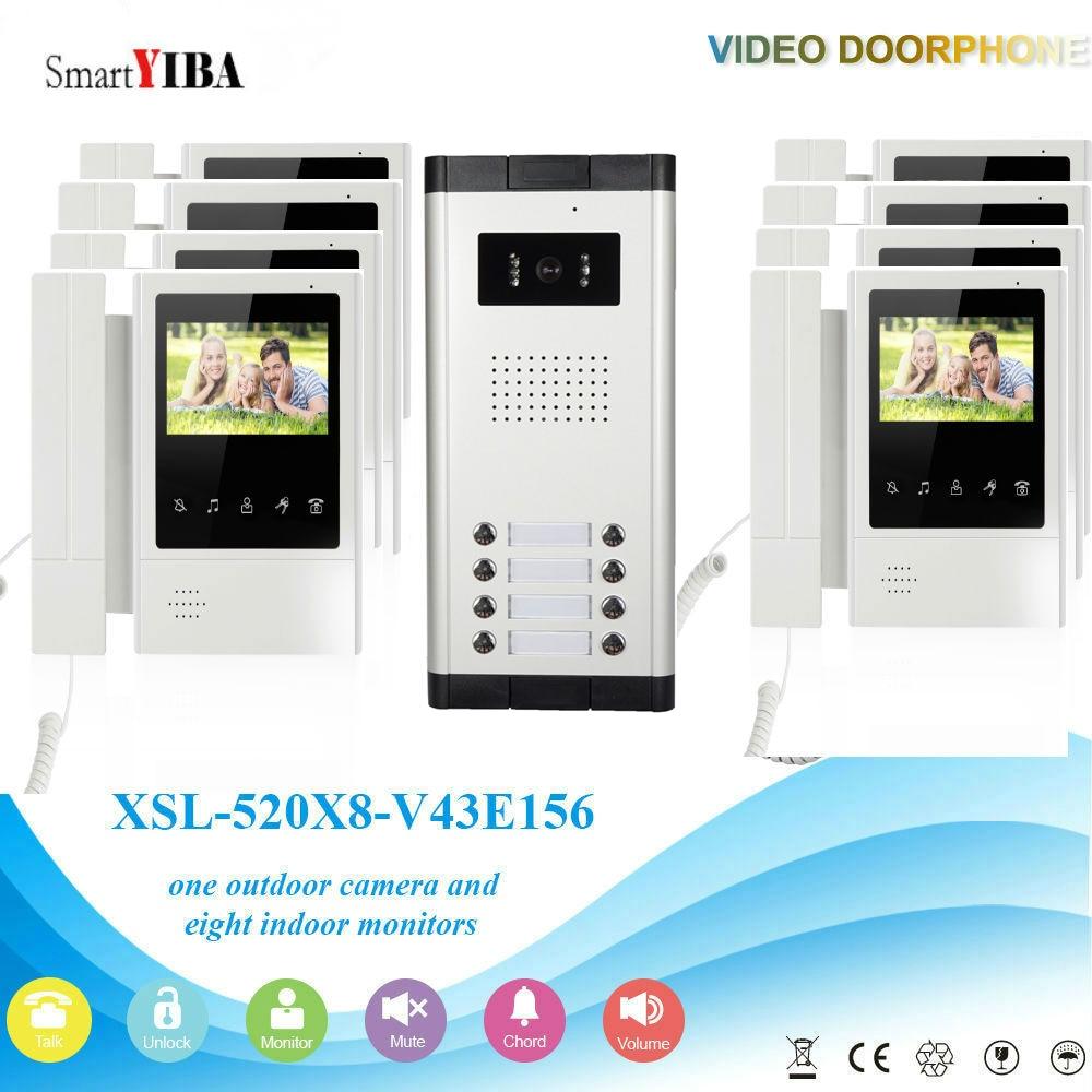 SmartYIBA 8 Units 4.3'' LCD Wired Video Door Phone Visual Video Intercom Speakerphone Intercom System With Waterproof IR Camera