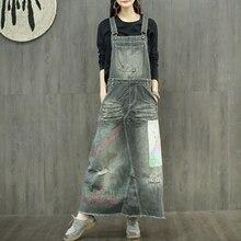 Новинка, модные длинные макси джинсовые платья для женщин, цельные джинсовые комбинезоны, платья с отверстиями, платья с аппликацией
