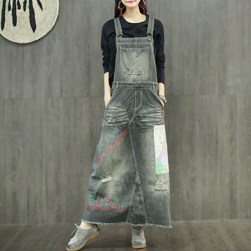 Free Shipping 2019 New Fashion Long Maxi Denim Dresses For Women One piece Jeans Overalls Dresses With Hole Appliques Dresses in Dresses from Women 39 s Clothing