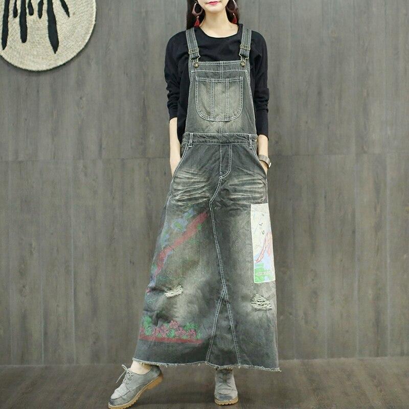 Kadın Giyim'ten Elbiseler'de Ücretsiz Kargo 2019 Yeni Moda Uzun Maxi Denim Elbiseler Tek parça Kot Tulum Elbiseler Ile Delik Aplikler elbiseler'da  Grup 1
