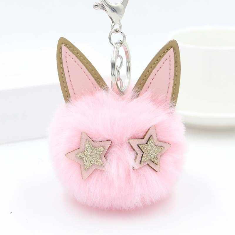 Estrela-olho gato chaveiro pompom pele de coelho bola chaveiro pompom pompom chaveiro feminino chaveiro titular do carro encantos chaveiro