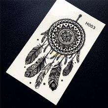 1PC Hot Indian Feather Dream Catcher Temporary Tattoo Sticker Black Dreamcatcher Tattoo Waterproof Tattoo Stickers Body Art HH03