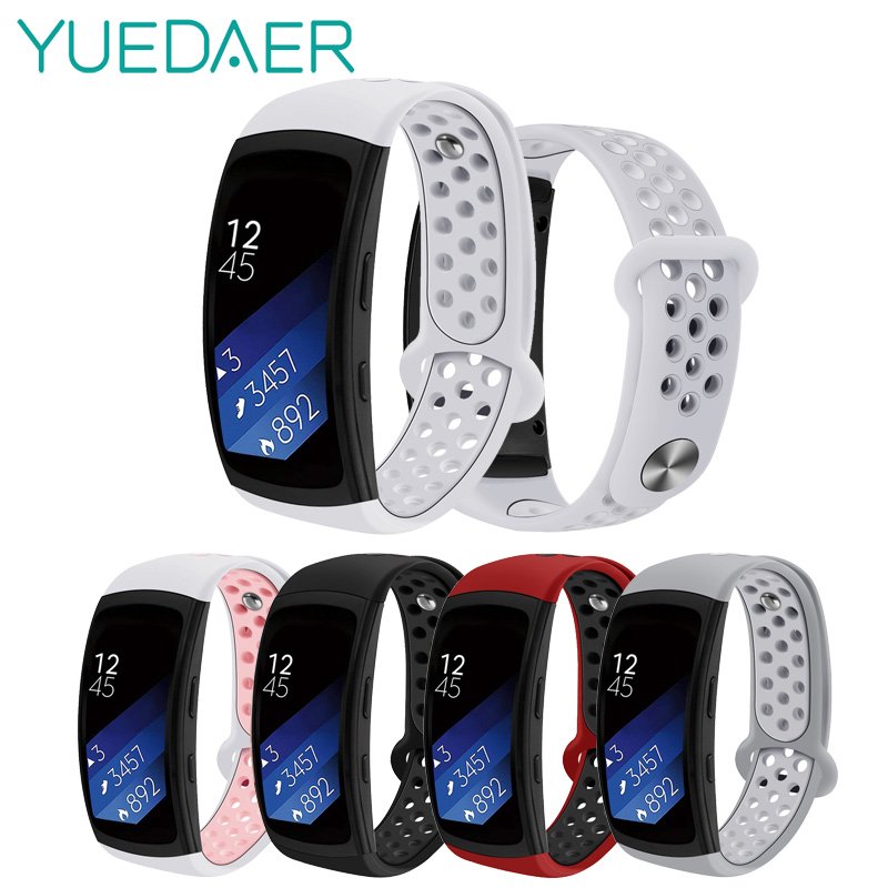 Yuedaer Double Color Silicone Strap For Samsung Gear Fit 2 Sport Bracelet For Samsung Gear Fit 2 Pro SM-R360 Watchband Wristband