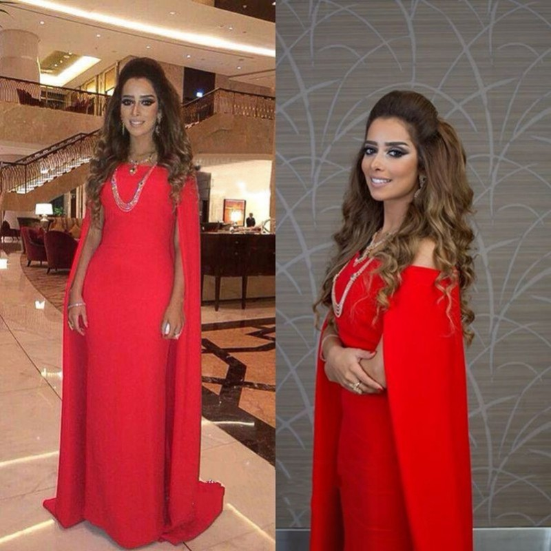 Aliexpress.com : Buy Long Red Evening Dresses With Cape A Line Boat ...